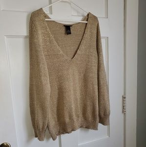 Lane Bryant sparkle gold Holiday Sweater